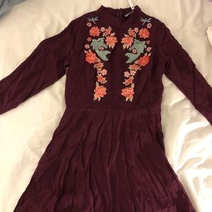 ASOS embroidered trumpet sleeve mini dress - berry
